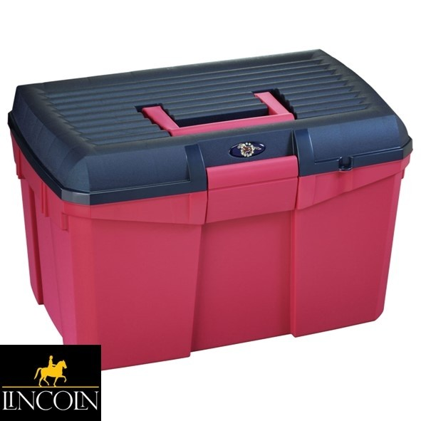 Lincoln Limited Edition Tack Box – Raspberry Red/Navy
