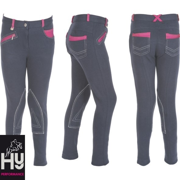 HyPERFORMANCE Diesel Children's Jodhpurs – Charcoal/Pink