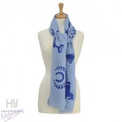 HyFASHION Ladies Balmoral Scarf – Light Blue/Royal Blue