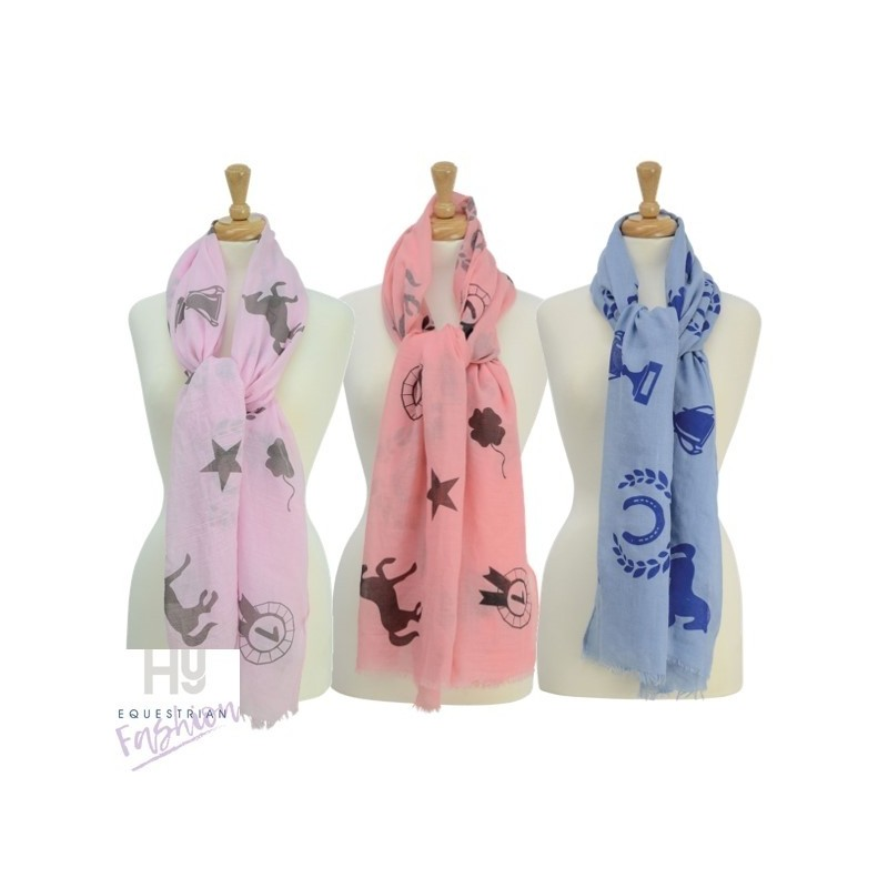 HyFASHION Ladies Balmoral Scarf – Pastel Pink/Pale Brown Print