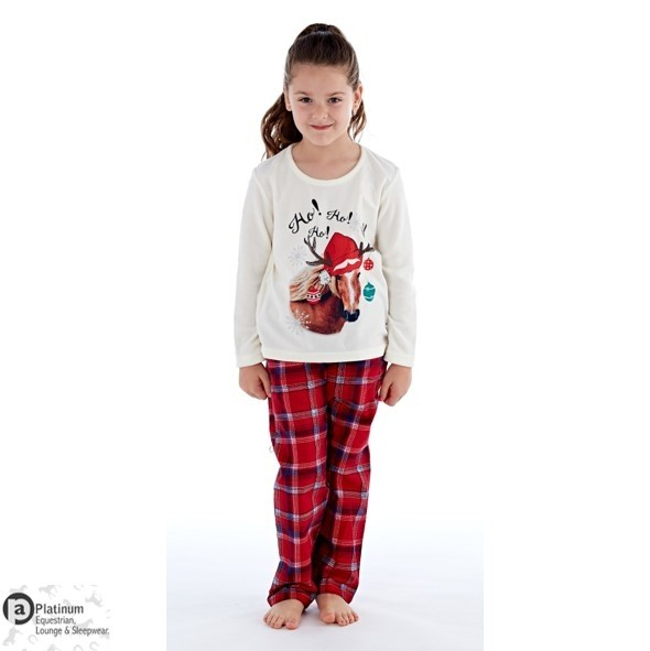 Platinum Equestrian Infants Festive Horse Pyjamas – Winter White/Red Check
