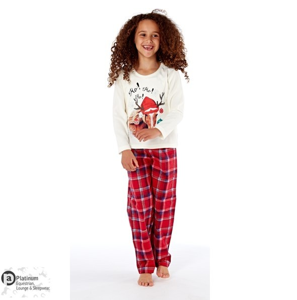 Platinum Equestrian Childrens Festive Horse Pyjamas – Winter White/Red Check