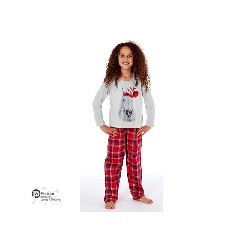 Platinum Equestrian Childrens Festive Horse Pyjamas – Grey/Red Check