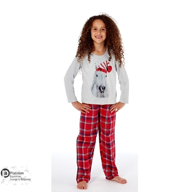 Platinum Equestrian Childrens Festive Horse Pyjamas – Grey/Red Check