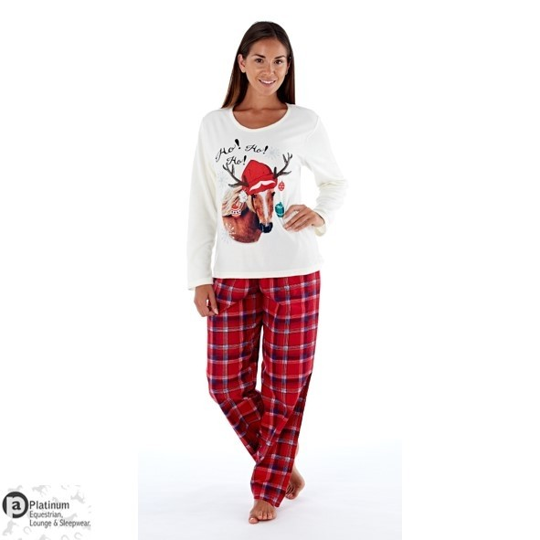 Platinum Equestrian Adults Festive Horse Pyjamas – Winter White/Red Check