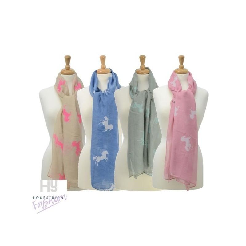 HyFASHION Ladies Belvoir Horse Print Scarf – Beige/Bright Pink Horse Print