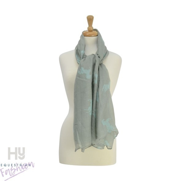 HyFASHION Ladies Belvoir Horse Print Scarf – Grey/Teal Horse Print