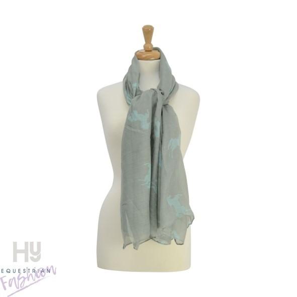 HyFASHION Ladies Belvoir Horse Print Scarf – Grey/Teal Horse Print