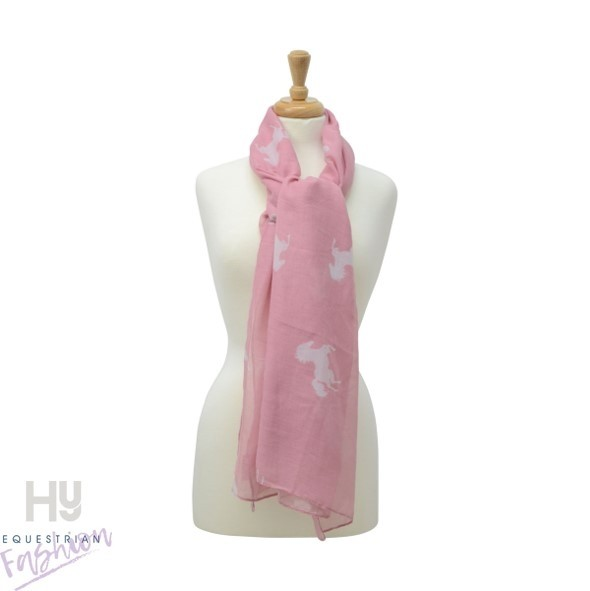 HyFASHION Ladies Belvoir Horse Print Scarf – Pink/White Horse Print