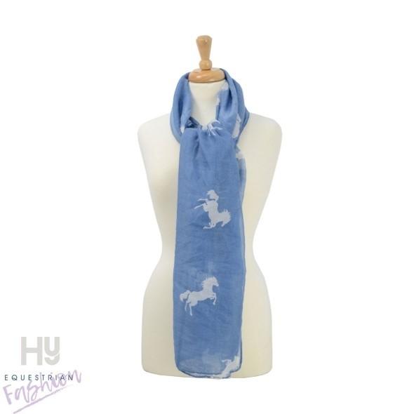 HyFASHION Ladies Belvoir Horse Print Scarf –  Blue/White Horse Print