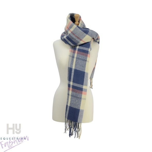 HyFASHION Ladies Supersoft Tartan Scarf –  Soft Blue/Cream/Peach