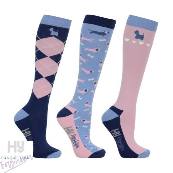 HyFASHION Isabella Dog Print Socks (Pack 3)