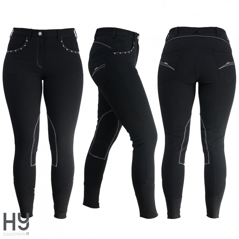 HyPERFORMANCE Diamante Ladies Breeches - Black/Berry
