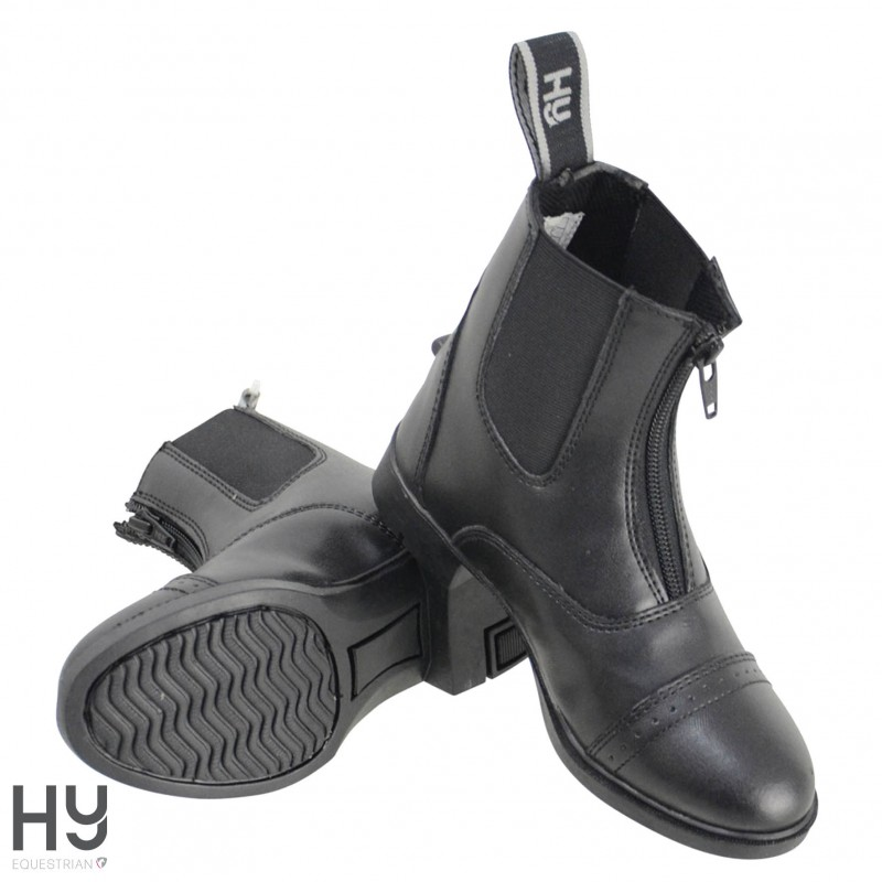 HyLAND Childrens York Synthetic Combi Leather Zip Jodhpur Boots