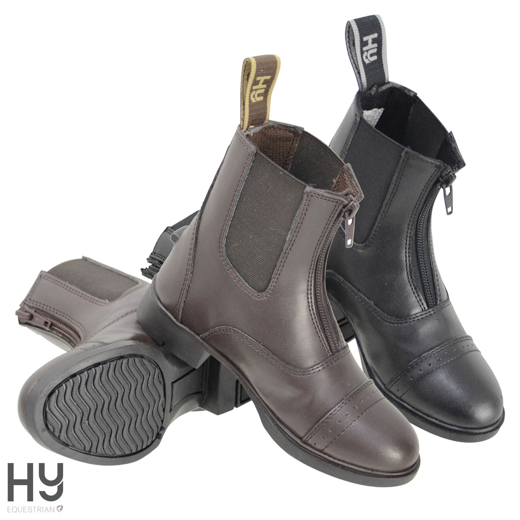 HyLAND York Synthetic Combi Leather Zip Jodhpur Boots