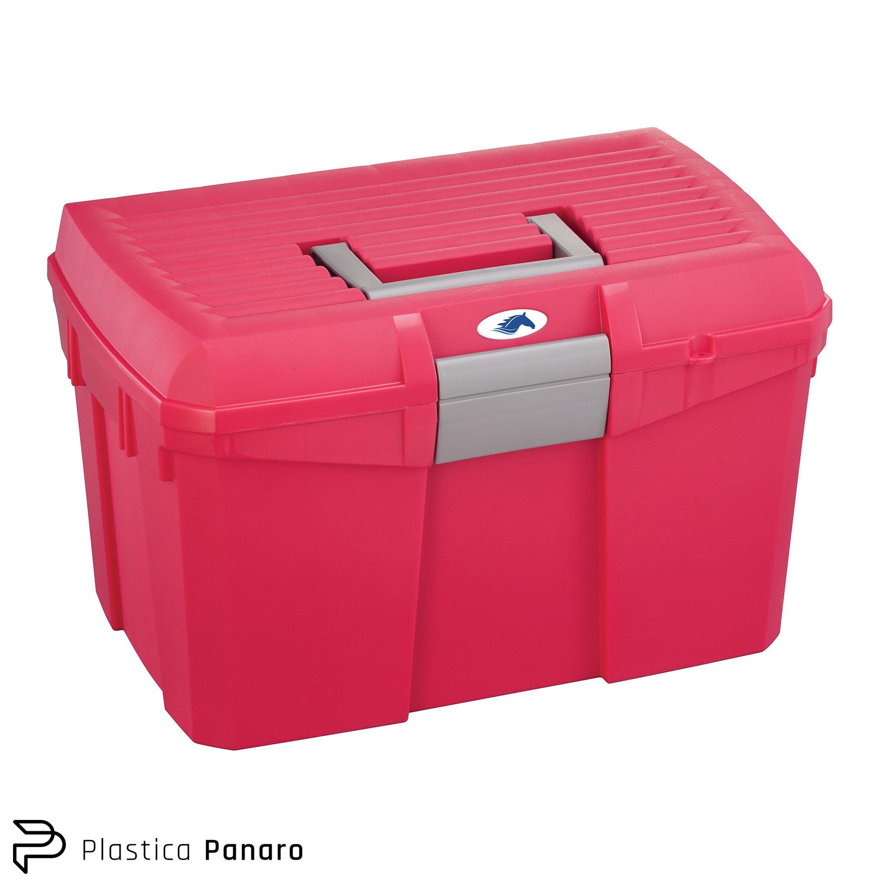 Plastica Panaro Tack Box – Medium – Raspberry/Silver